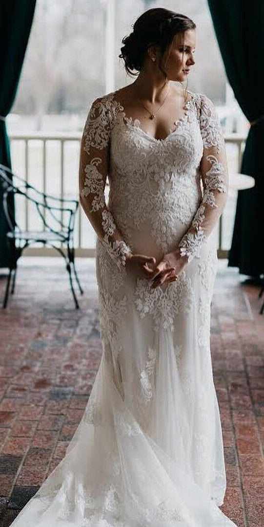 Mermaid Long Sleeve Sheer Lace Wedding Dress - daisystyledress
