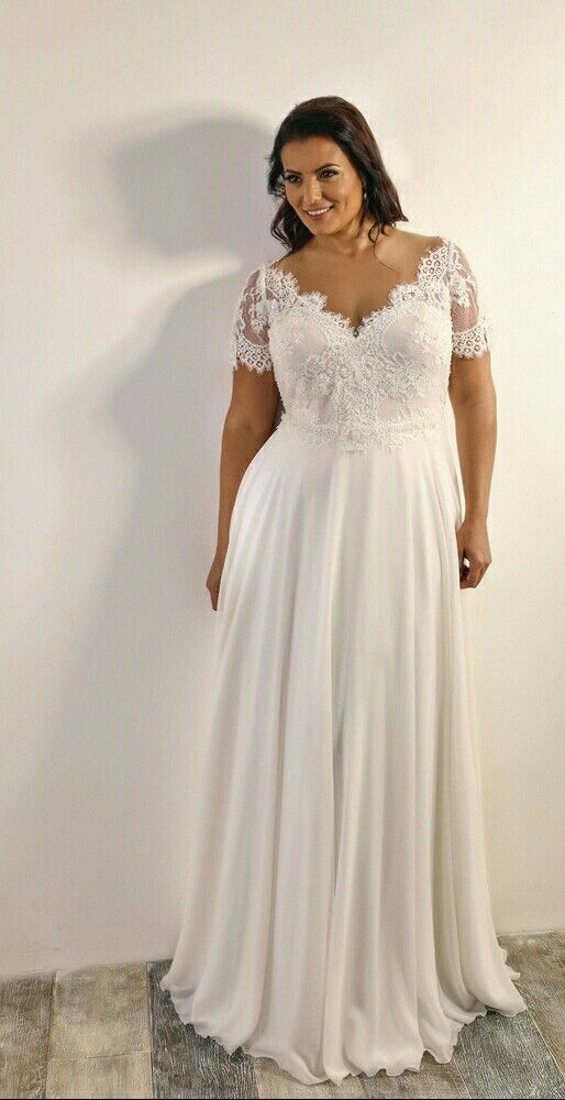 Short Sleeve Lace Plus Size Wedding Dress - daisystyledress