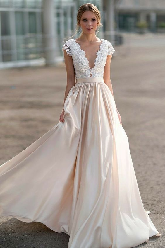 A line Short Sleeve Blush Wedding Dress - daisystyledress