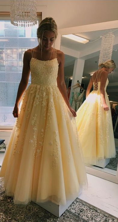 Fashion Ball Gown Double Straps Yellow Prom Dress - daisystyledress