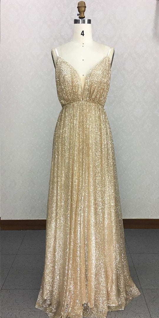 Sexy Backless Gold Sparkle Prom Dress - daisystyledress