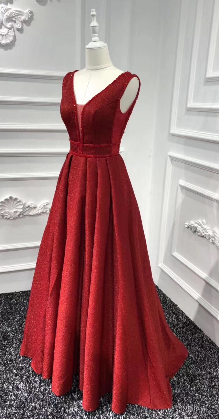 A line Red Sparkle Prom Dress - daisystyledress