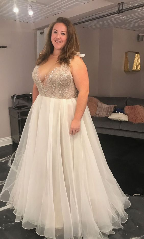 Elegant V-neckline Beaded Plus Size Wedding Dress - daisystyledress