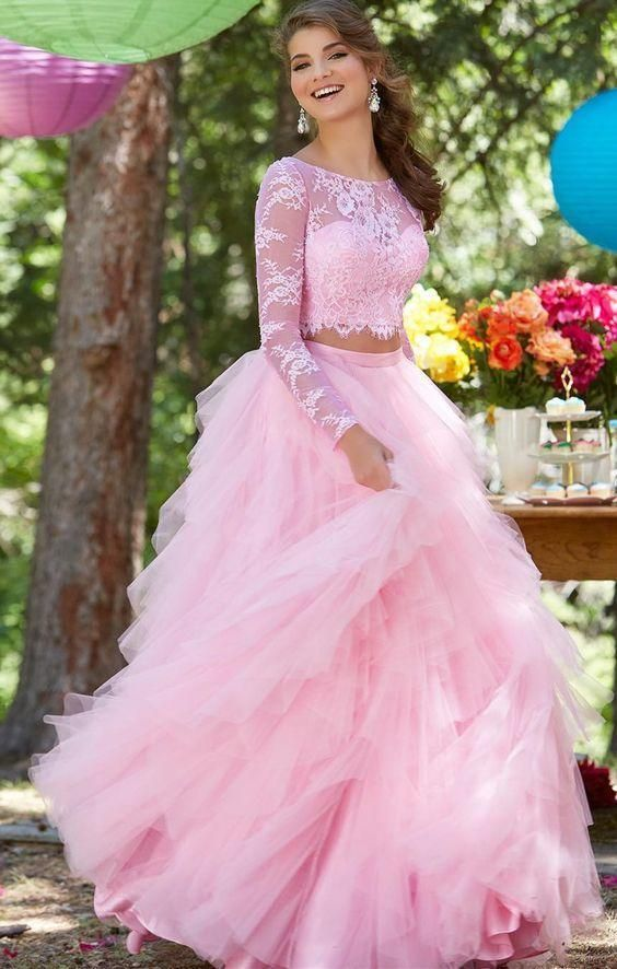 Princess Long Sleeve Lace and Tulle Two Piece Pink Prom Dress - daisystyledress