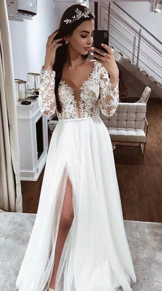 Sexy Slit Sheer Lace Long Sleeve Wedding Dress - daisystyledress