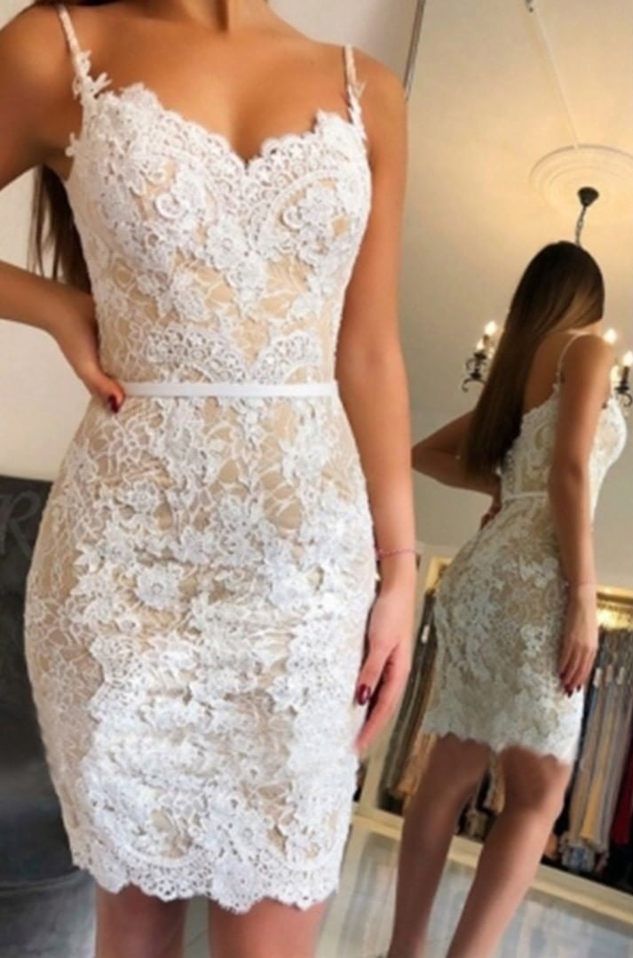 Knee Length Spaghetti Straps Champagne Fitted Lace Party Dress - daisystyledress