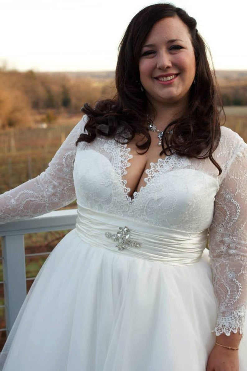 Long Sleeve Lace Plus Size Wedding Dress - daisystyledress