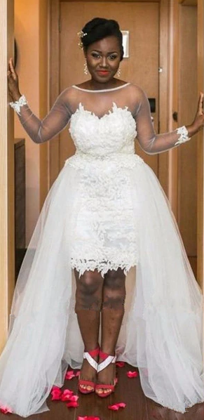 Sexy High Low Long Sleeve Lace Plus Size Wedding Dress - daisystyledress