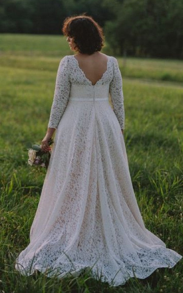 Modest Long Sleeve Lace Plus Size Wedding Dress - daisystyledress