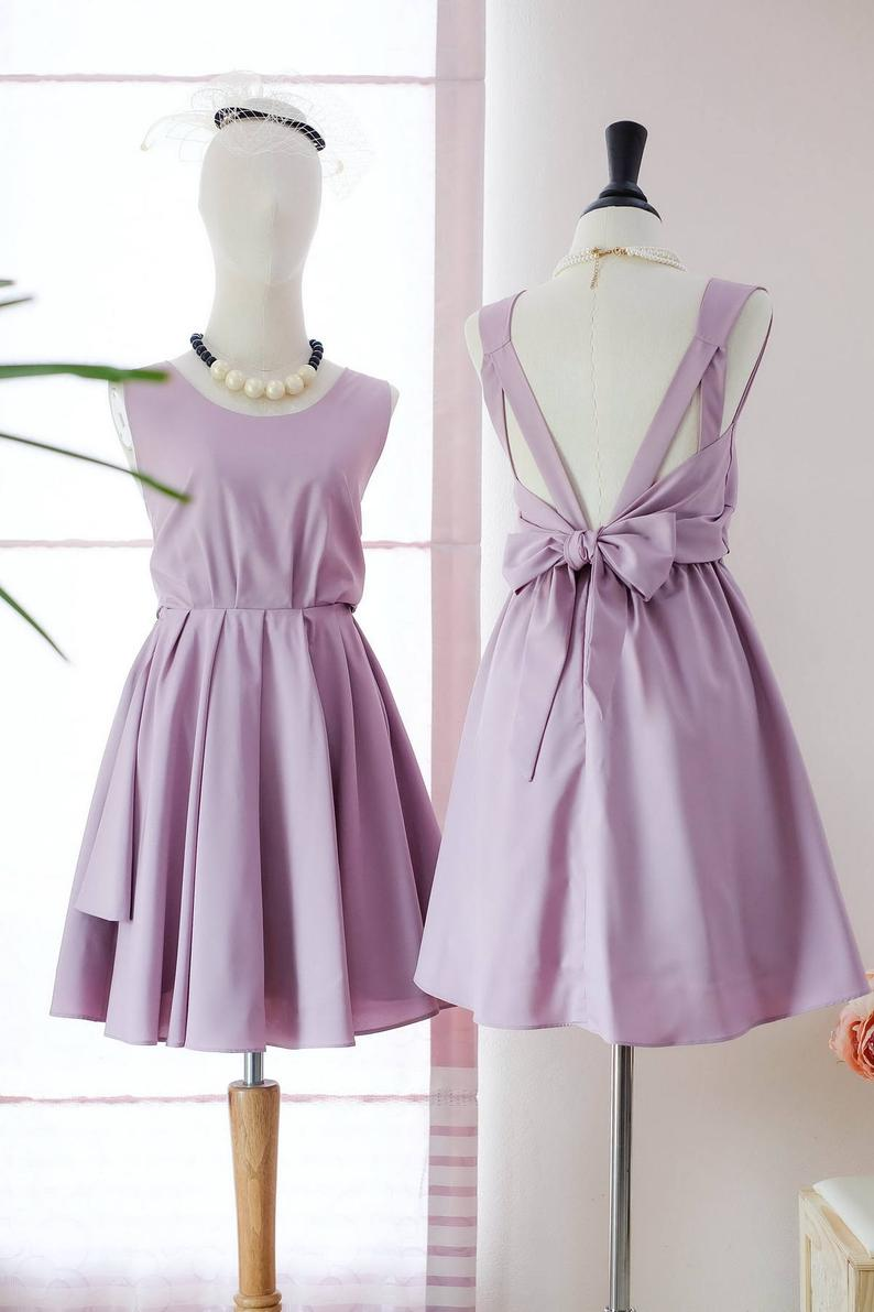 Knee Length Lilac Bridesmaid Dress - daisystyledress