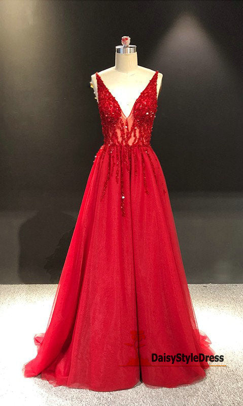 Sexy Sheer Red Evening Dress - daisystyledress