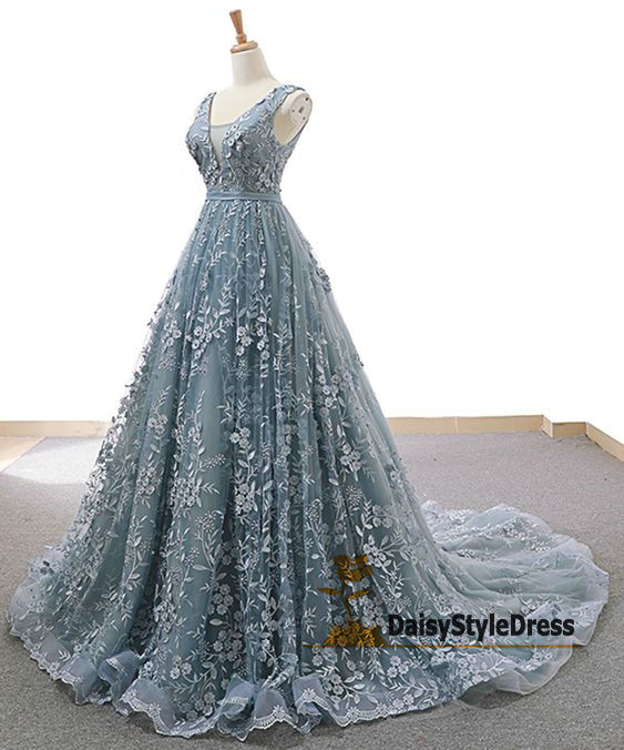 High Quality Lace Ball Gown Blue Wedding Dress - daisystyledress