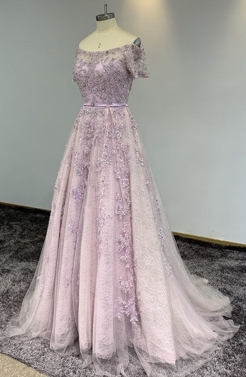Short Sleeve Dusty Pink Prom Dress - daisystyledress
