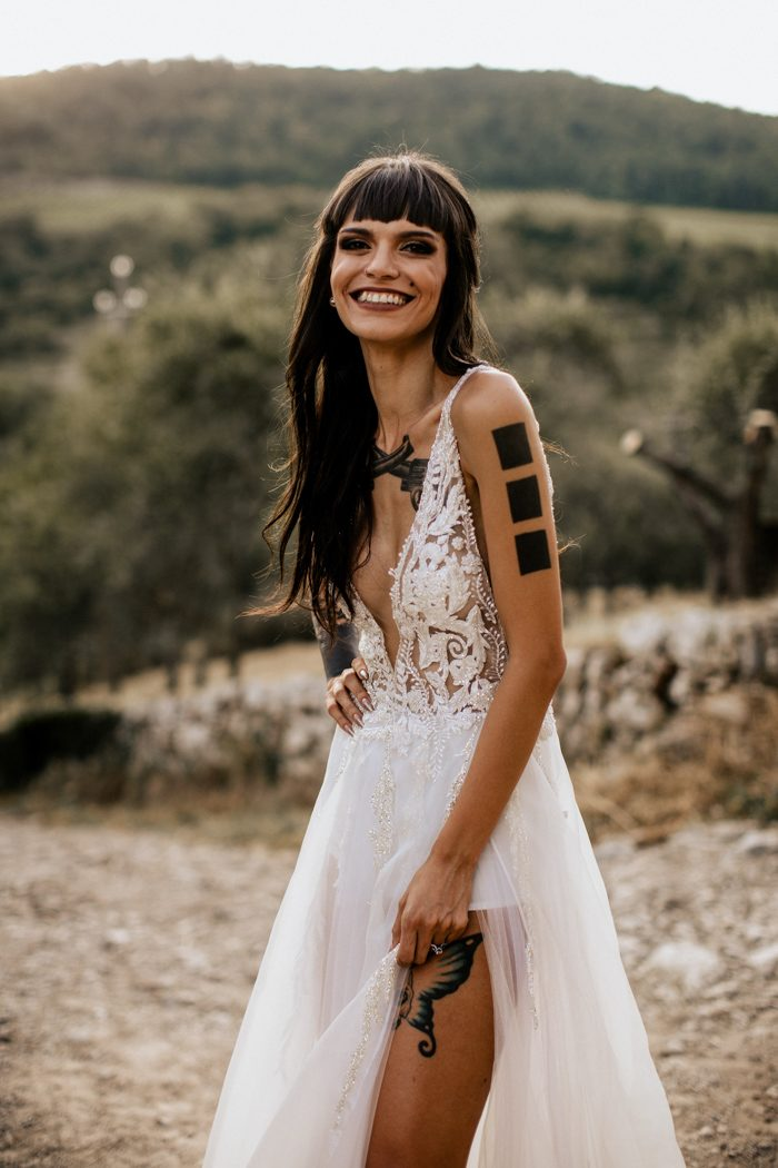 Sexy Slit Bohemian Wedding Dress - daisystyledress
