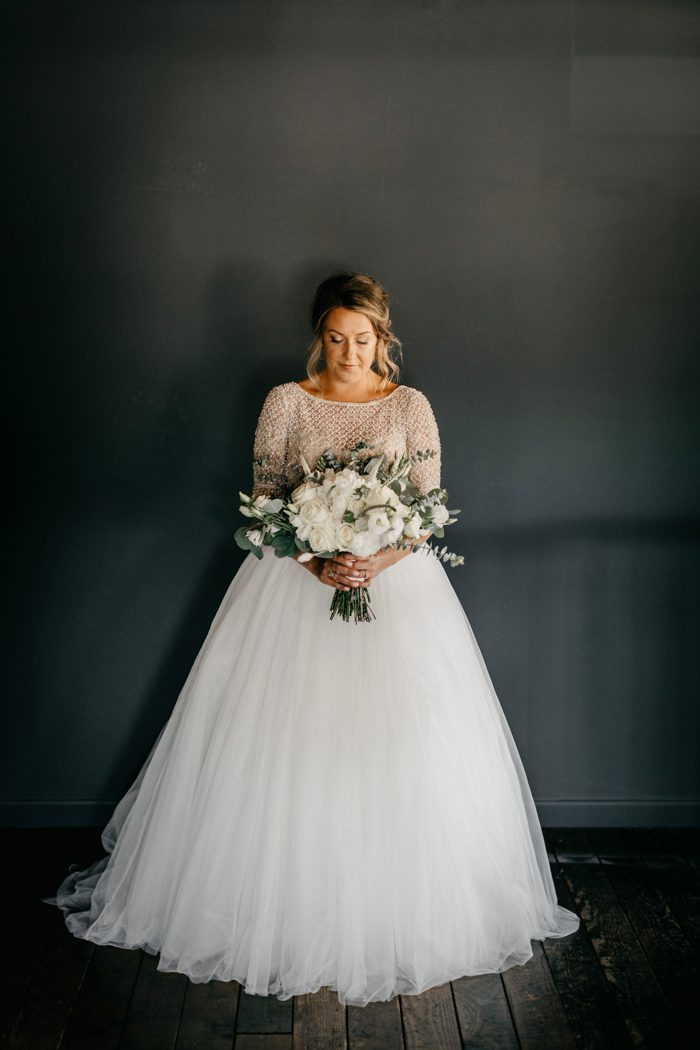 Handmade Beaded Half Sleeve Plus Size Wedding Dress - daisystyledress