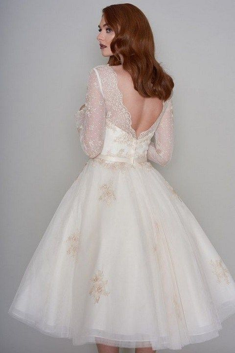 Tea Length Vintage Long Sleeve Lace Wedding Dress - daisystyledress