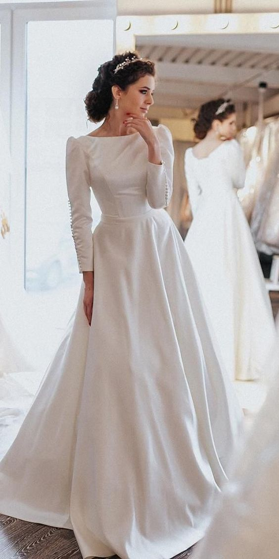 Simple Vintage Modest Long Sleeve Wedding Dress - daisystyledress