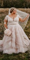 Long Sleeve Blush Lace Plus Size Wedding Dress - daisystyledress