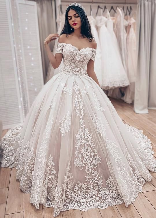 Ball Gown Off Shoulder Sleeve High Quality French Lace Wedding Dress - daisystyledress