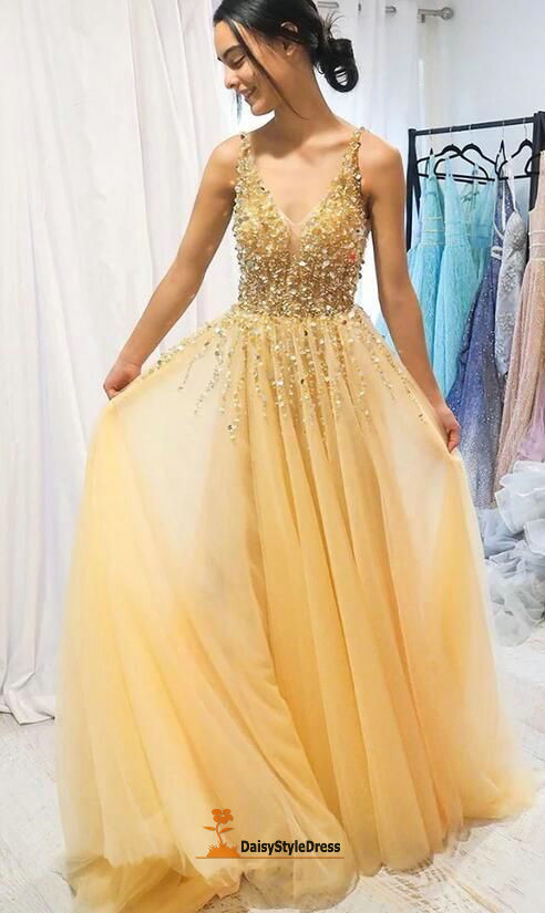 Handmade Beaded Yellow Prom Dress - daisystyledress