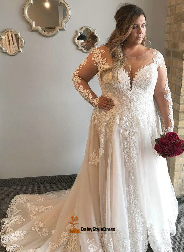 Elegant Long Sleeve Lace Plus Size Wedding Dress - daisystyledress