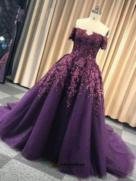 Ball Gown Off Shoulder Sleeve Grape Plus Size Prom Dress - daisystyledress