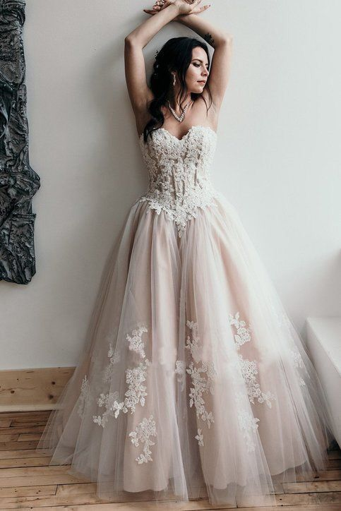 Strapless High Quality French Lace Wedding Dress - daisystyledress