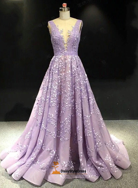 Elegant V-neckline Lavender Evening Dress - daisystyledress