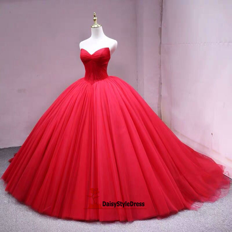 ball gown red wedding dress