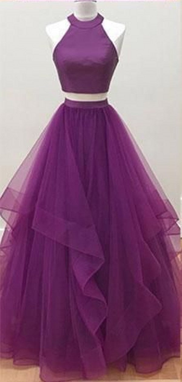 Two Piece Purple Prom Dress - daisystyledress