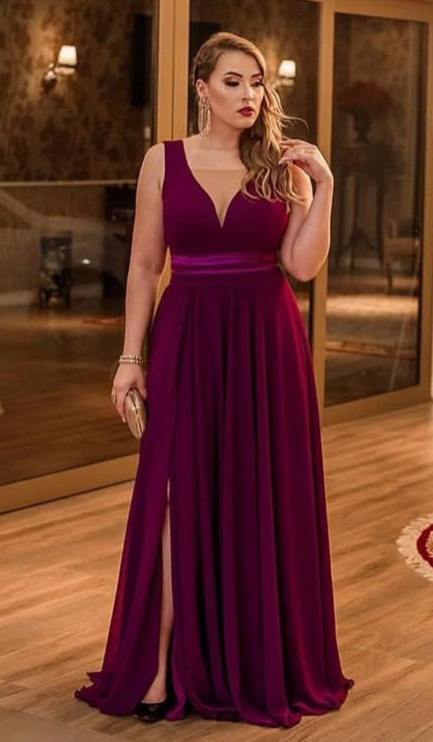 Slit Plus Size Grape Evening Dress - daisystyledress