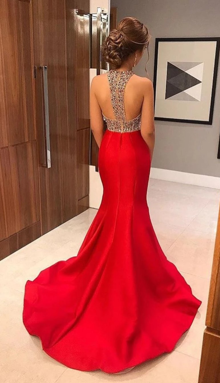 Mermaid Halter Neckline Red Prom Dress - daisystyledress