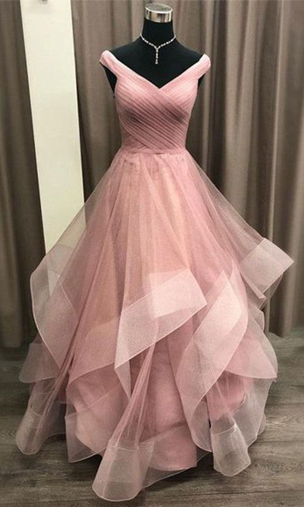 Ball Gown Off Shoulder Sleeve Sparkle Prom Dress - daisystyledress