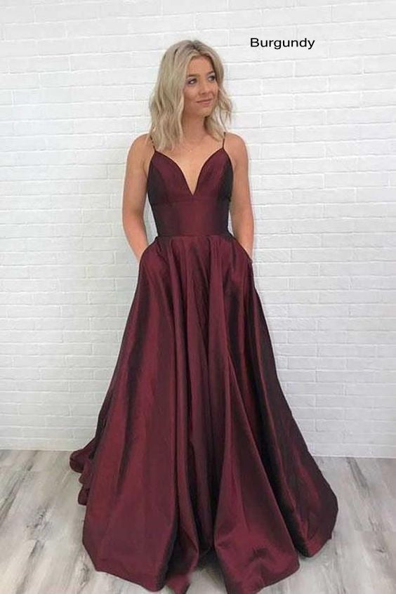 Cheap Spaghetti Straps Burgundy Prom Dress - daisystyledress