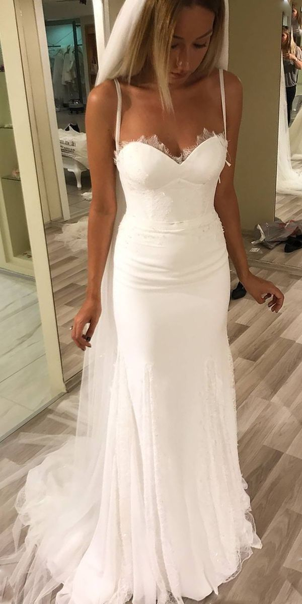 Sheath Spaghetti Straps Summer Wedding Dress