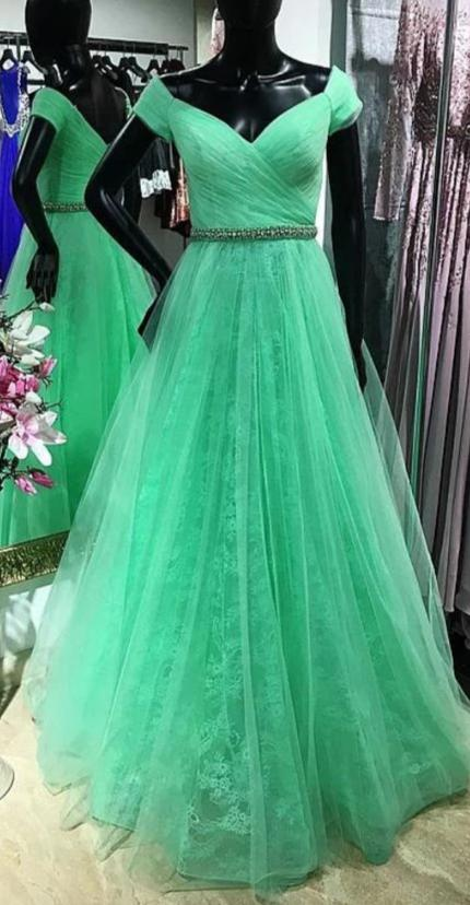 Off Shoulder Sleeve Green Prom Dress - daisystyledress