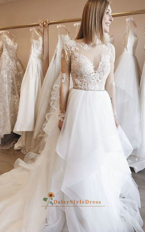 Modest Long Sleeve V-back Wedding Dress - daisystyledress