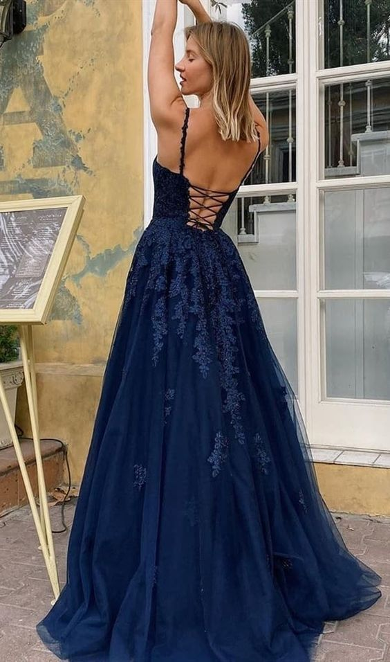 Fashion Cross Back Navy Blue Prom Dress - daisystyledress