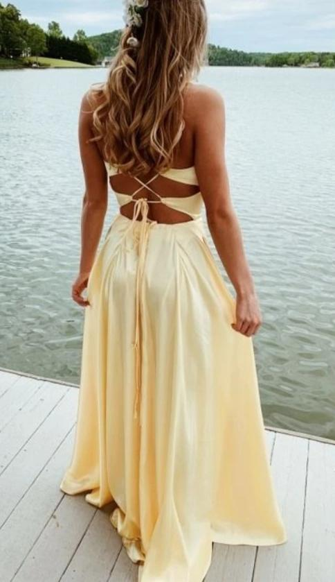 Fashion Slit Yellow Crisscross Back Prom Dress - daisystyledress