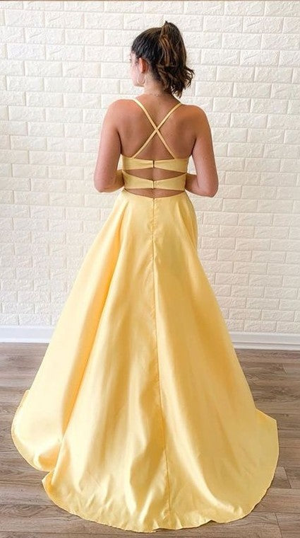 Spaghetti Straps Yellow Slit Prom Dress - daisystyledress