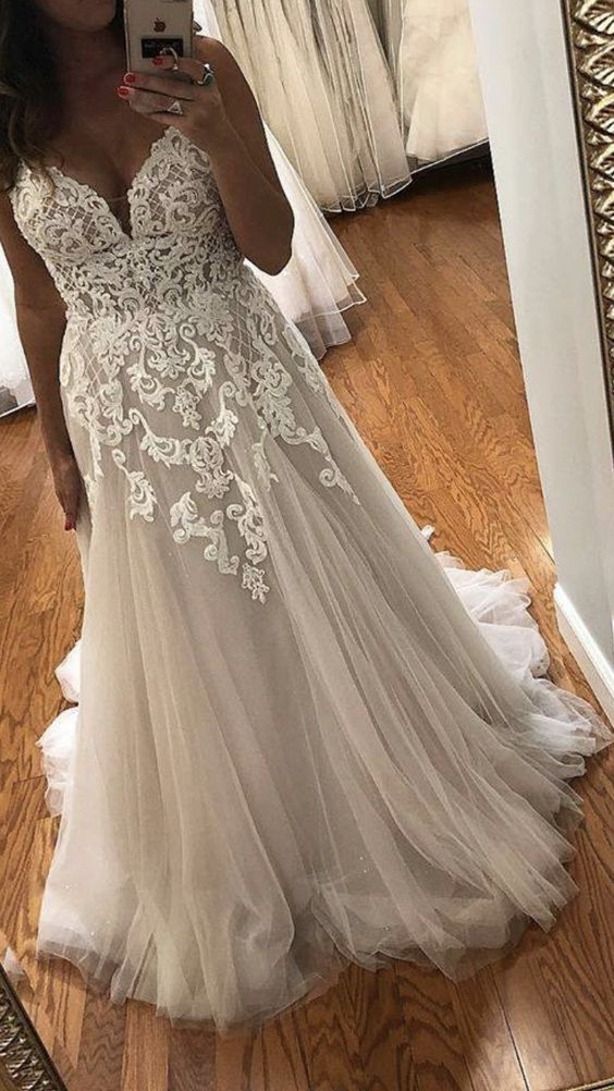 Boho Lace Plus Size Wedding Dress