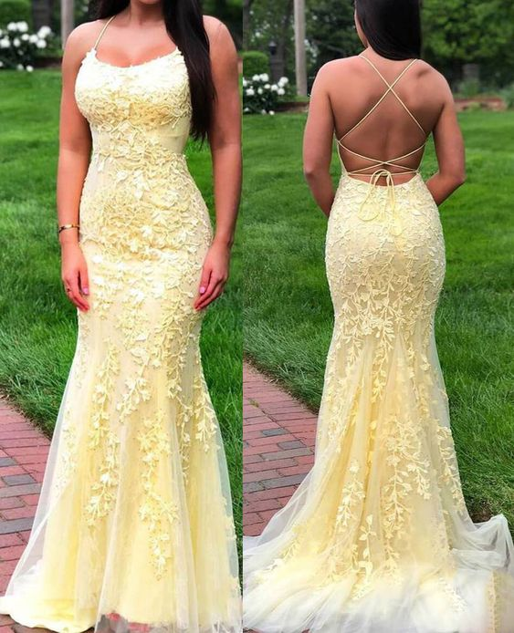 Fitted Backless Yellow Lace Prom Dress - daisystyledress