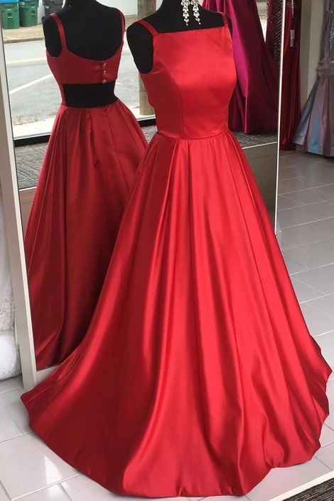 Ball Gown Square Neckline Red Prom Dress - daisystyledress