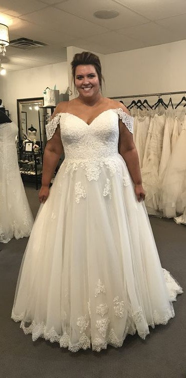 Off Shoulder Sleeve Plus Size Wedding Dress - daisystyledress