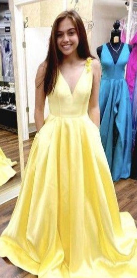 Long Yellow Prom Dress with Pocket - daisystyledress
