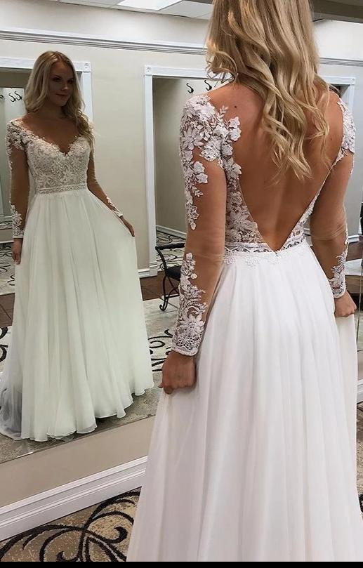Elegant Long Sleeve Lace Sexy V-back Bohemian Wedding Dress - daisystyledress