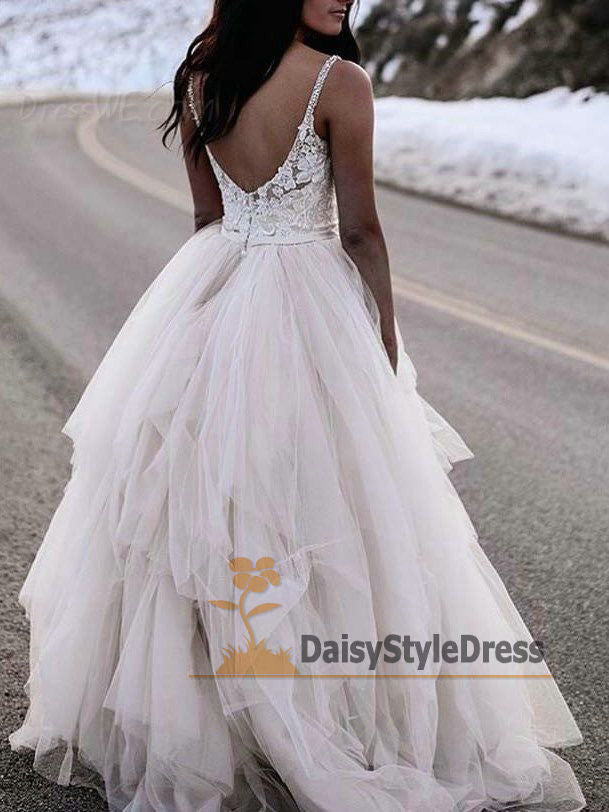 Ball Gown Tulle and Lace V-back Wedding Dress - daisystyledress