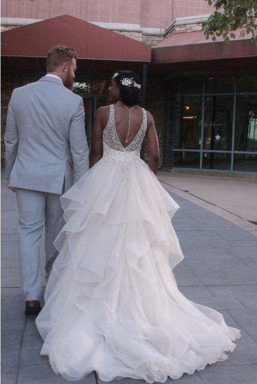 deep v-back wedding dress