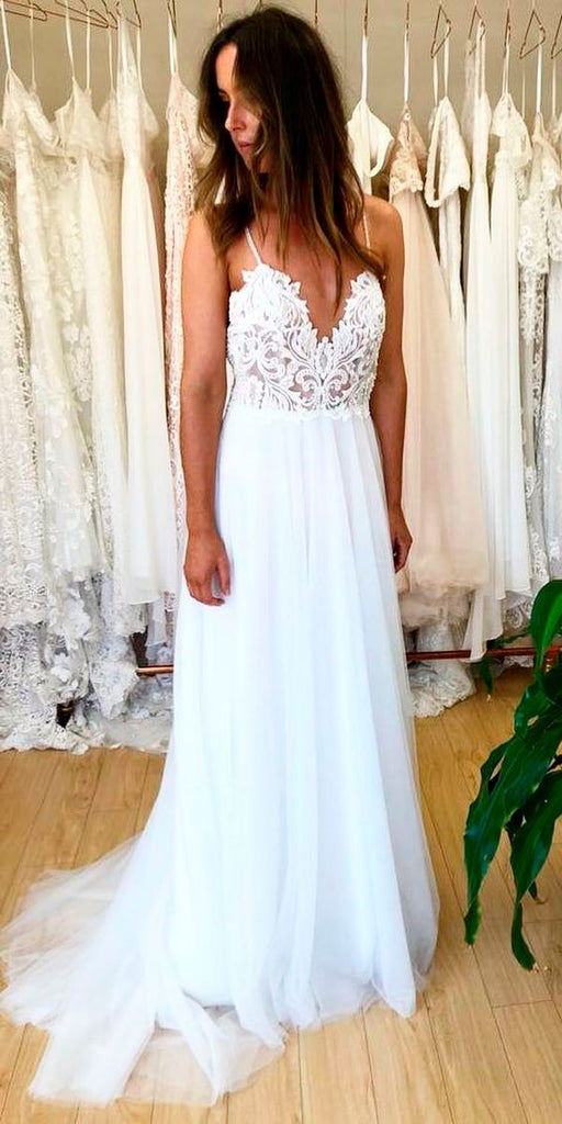 Informal Spaghetti Straps Bohemian Wedding Dress - daisystyledress