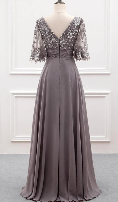 Elegant Half Sleeve Gray Mother of Bride Dress - daisystyledress